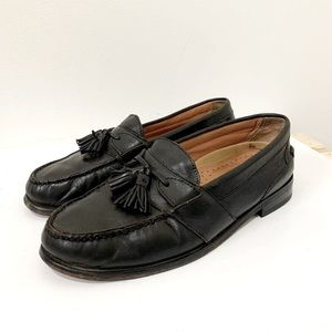 Vintage Black Leather Tassel Loafers Size 9 Wide